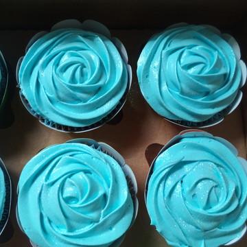 Cupcakes - Rosas de Marshmallow Rosas na Cor Azul