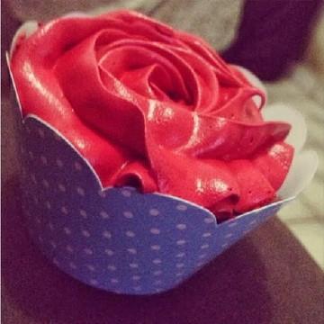 Cupcakes - Rosas de Marshmallow na Cor Vermelha