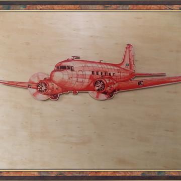 Quadro avião DC-3 recortado vermelho