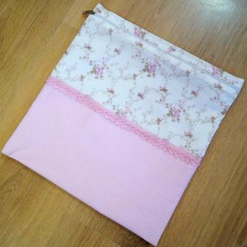 Porta Roupa Suja Floral/Rosa