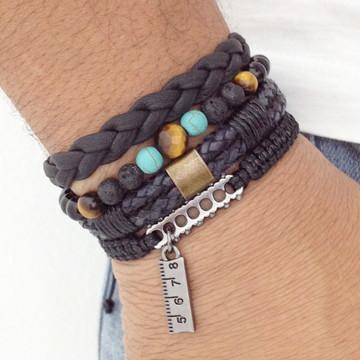 Kit pulseiras masculinas couro onix