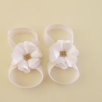 sandalia pés bebe criança barefoot flor