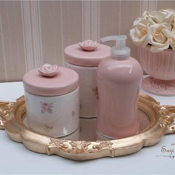 Kit higiene Floral rosa antigo