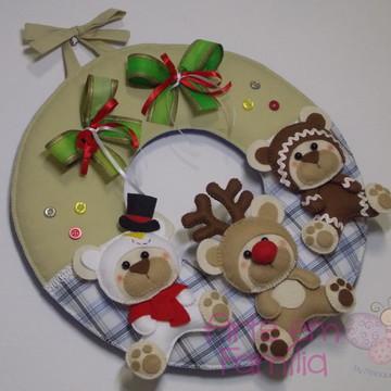 Guirlanda de Natal Três Ursinhos