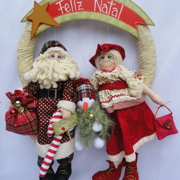 Guirlanda de Natal Papai e Mamãe Noel