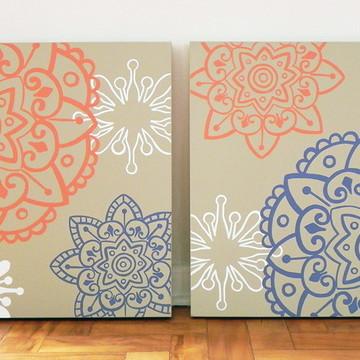 Quadro pintura em par de Telas Mandalas Fendi 50X50