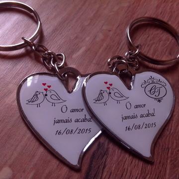 chaveiro Personalizados de coração 100 unidades