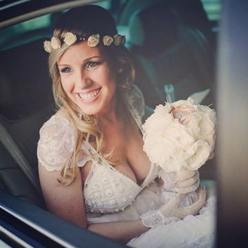Vestido de noiva em renda vintage