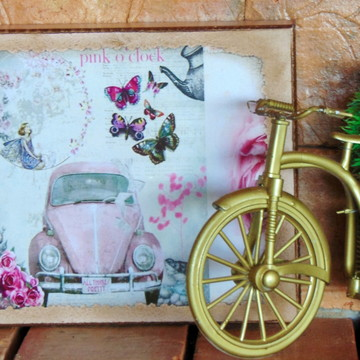 Quadro Vintage - fusca rosa