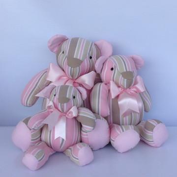 Trio De Ursinhos Litras bege e rosa