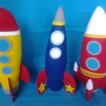 Kit tres foguetes de feltro