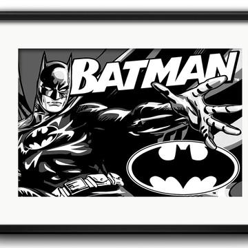 Quadro Batman Preto Branco com Paspatur