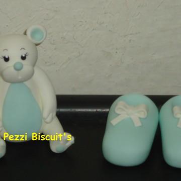 Topo de bolo urso de biscuit