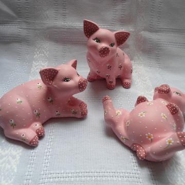 Trio de Porquinhas com Flores diferentes