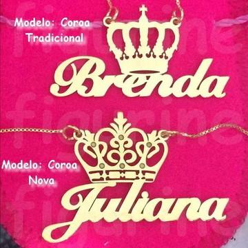 Colar nome Personalizado com Coroa