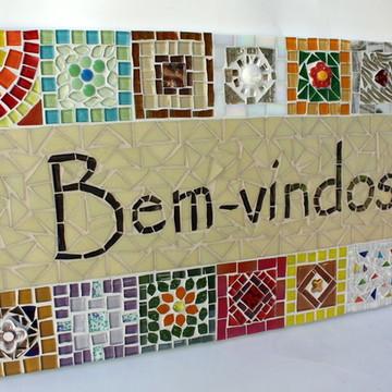 Quadro Bem-vindos em mosaico Bege