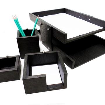 Kit escritório 4 peças - Preto