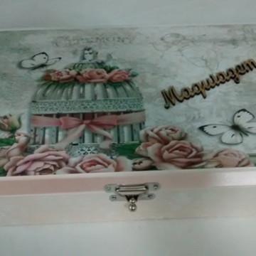 Porta Maquiagem em madeira,mdf,decorado