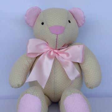 Ursinho poa bege e rosa