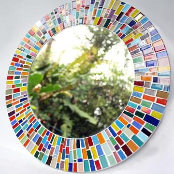Espelho em mosaico Colorido 40 cm