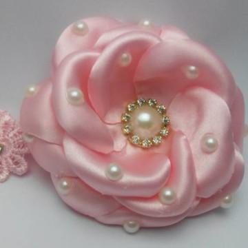 Headband Infantil Flor Rosa