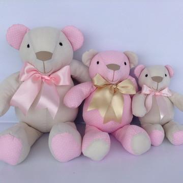 Trio De Ursinhos bege e rosa