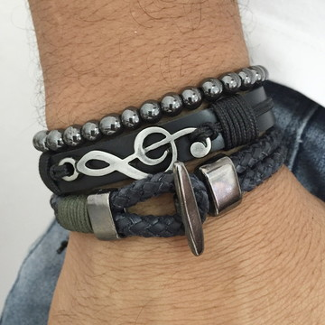 Kit 3 pulseiras masculinas clave sol