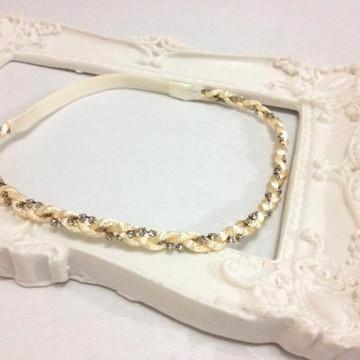 Headband ADULTO nude com strass prata