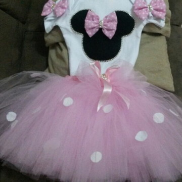 Fantasia Minnie rosa bebe