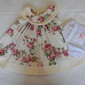 Vestido de bebê floral creme Yasmin