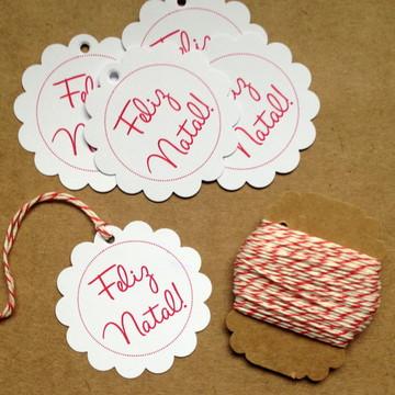 Kit Tag Flor Feliz Natal + Twine