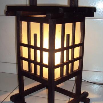 Abajur de mesa oriental estilo japonês rustico