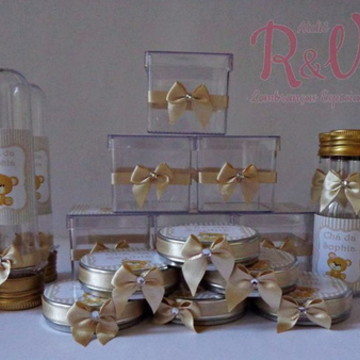 Kit para chá de Bebê Dourado