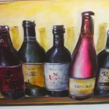 Quadro arte francesa Garrafas de vinho