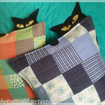 Duo de Capas almofadas Gato patchwork 1