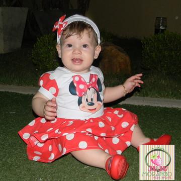 Vestido Minie vermelho com aplique