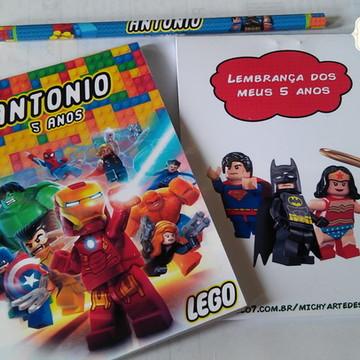 Kit Bloquinho + Lápis LEGO Heróis