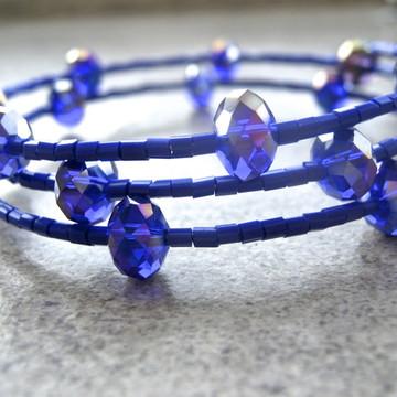 Pulseira de miçangas cristal-'Azulão'