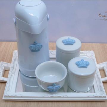 Kit higiene coroa azul com garrafa