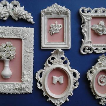 Kit 5 quadros rosa antigo