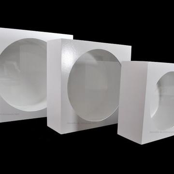 Trio De Nicho Redondo Branco Com Vidro