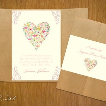 Convite de Casamento Coração Floral