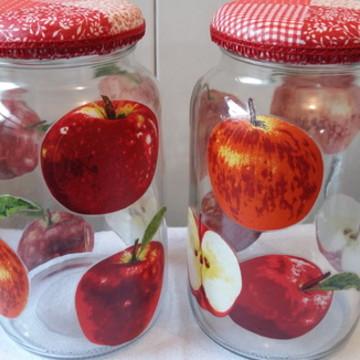 Kit de potes decoupage maçãs