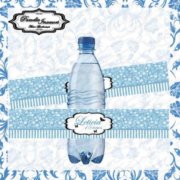 Rótulo Garrafa Água Azul Turquesa