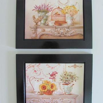 Dupla de Quadros Pretos Flores Vintage