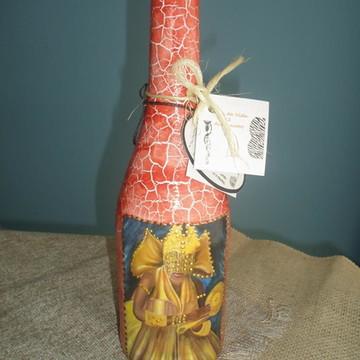 Garrafa em craquelê decorada Orixás