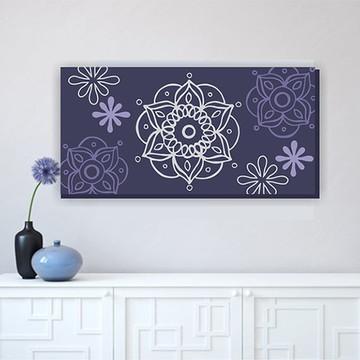 Quadro Pintura em Tela Mandala Azul 100X50cm