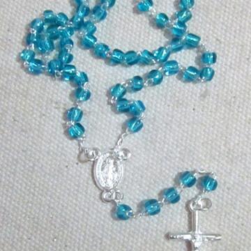Terço Miçanga Mini N.S. das Graças azul