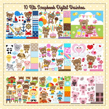 10 Kits Scrapbook Digital Ursinhos