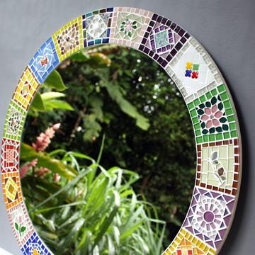 Moldura Espelho em mosaico Patchwork